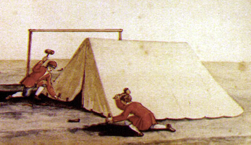 Scenes of the C& on H&ton Green 1781  (unattributed Scottish United Services Museum). The image above depicts two men erecting a wedge tent. & hgreen1781.jpg